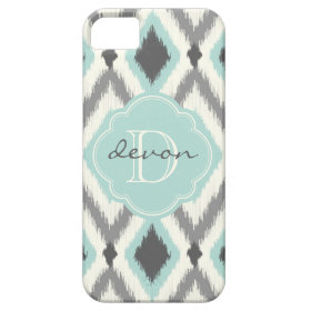 Gray & Mint Tribal Ikat Chevron Monogram iPhone 5 Covers