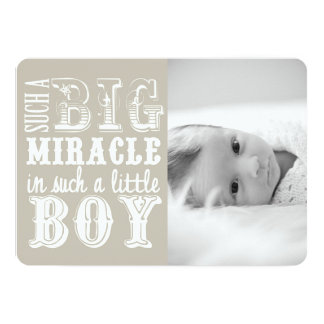 Gray Miracle Boy | Photo Birth Announcement