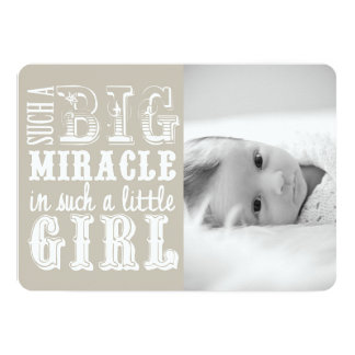 Gray Miracle Girl | Photo Birth Announcement