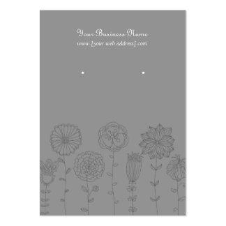 Gray Mod Flowers Custom Earring Card Large Business Card