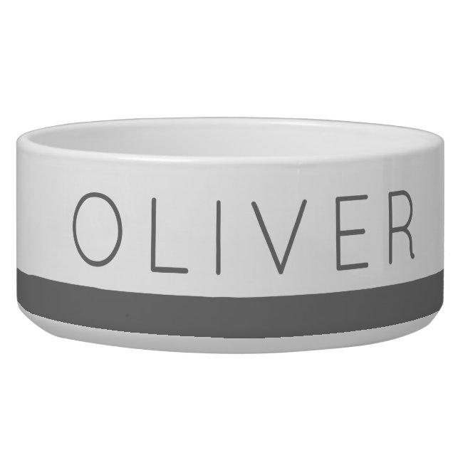 Gray Modern Classic Stripe Custom Name Cat or Dog Bowl