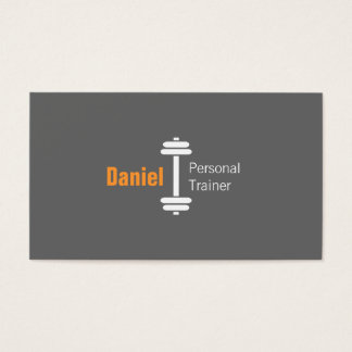 Gray Modern Fitness Personal Trainer Weights Business Card