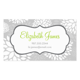Gray Modern Flowers Business Cards