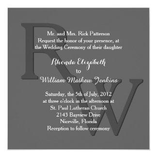 Gray Modern Monogram Wedding Invitation