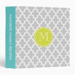 Gray Modern Moroccan Pattern Custom Monogram Vinyl Binder