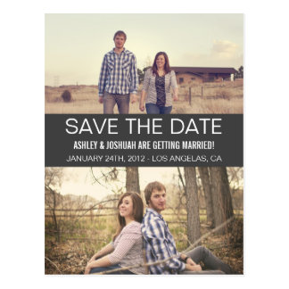 Gray Modern Photo Save The Date Post Cards