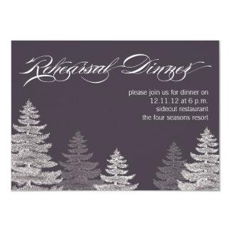 """Gray Modern Winter Rehearsal Dinner Invitation 4.5"""" X 6.25"""" Invitation Card"""