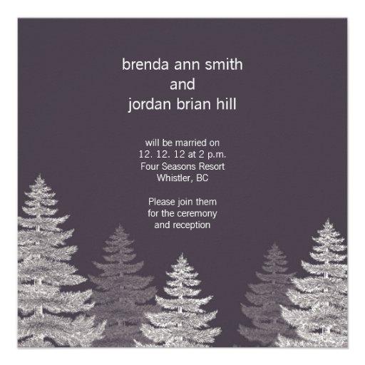 Gray Modern Winter Wedding Invitation Cards