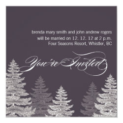 Gray Modern Winter Wedding Invitations Trees 5.25