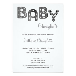 Gray Monochromatic Striped Baby Shower Invite