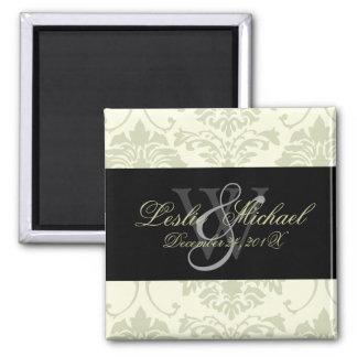 Gray Monogram Damask Wedding, Magnets