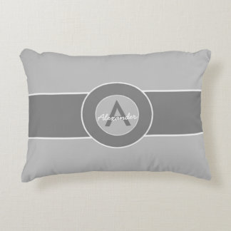 Gray Monogram Personalized Accent Pillow