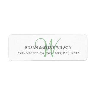 Gray Monogram Return Address Labels for Weddings