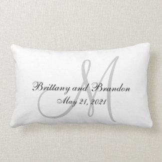 Gray Monogram Wedding Lumbar Pillow
