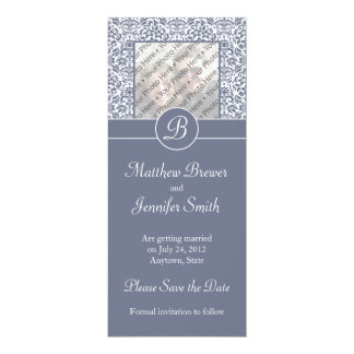 Gray Monogrammed Damask Photo Save the Date Card Personalized Invitations