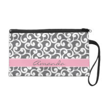 Gray Monogrammed Elements Print Wristlet Purse