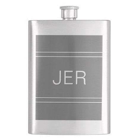 Gray Monogrammed Initials Personalized Drink Flask