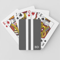 Gray Monogrammed Playing Cards for Men