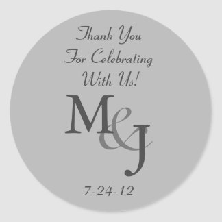 Gray Monogrammed Wedding Favor Gift Labels Classic Round Sticker