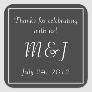 Gray Monogrammed Wedding Favor Label Stickers