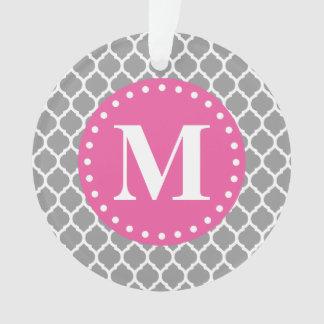 Gray Moroccan Lattice Pink Monogram Ornament