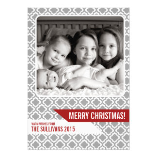 Gray Moroccan Pattern Modern Christmas Photo Card
