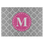 Gray Moroccan Quatrefoil Pattern Pink Monogram Cutting Board