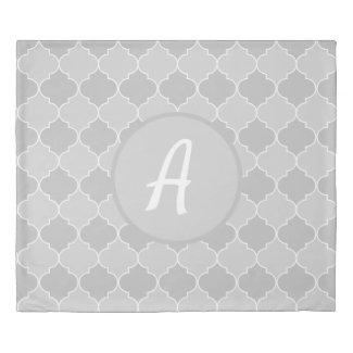 Gray Moroccan Trellis Quatrefoil Monogram Duvet Cover