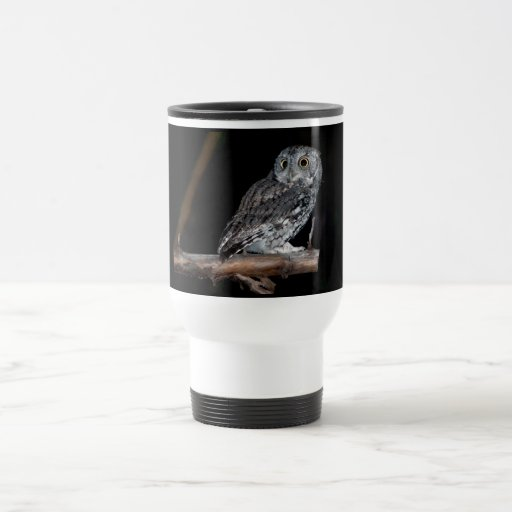 Gray Morph Eastern Screech-Owl at Midnight Travel Mug