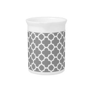 Gray Morrocan quatrefoil pattern Drink Pitcher