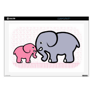 "Gray Mother and Pink Baby Elephant Skin For 17"" Laptop"
