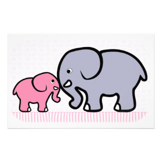 Gray Mother and Pink Baby Elephant Stationery