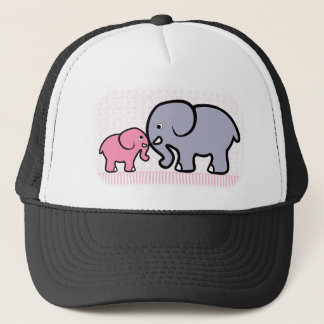 Gray Mother and Pink Elephant Trucker Hat