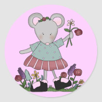 Gray Mouse in Flower Garden T-shirts and Gifts Classic Round Sticker
