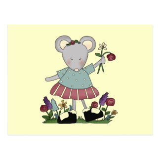 Gray Mouse in Flower Garden T-shirts and Gifts Postcard