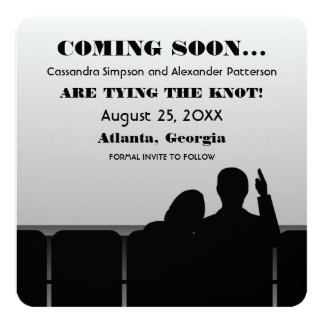 Gray Movie Theater Save the Date Card