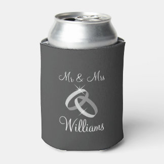 Gray Mr and Mrs can coolers with wedding rings Can Cooler