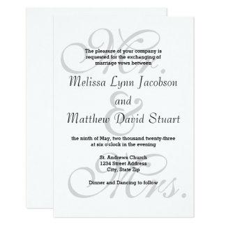 Gray Mr. & Mrs. - 3x5 Wedding Invitation