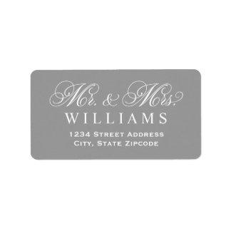 Gray Mr. & Mrs. Married Monogram Label