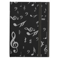 Gray musical notes on Black iPad Folio Cases