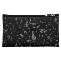 Gray musical notes on Black Makeup Bag
