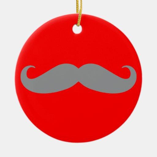 Gray Mustache Pattern Ceramic Ornament
