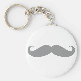 Gray Mustache Pattern Keychains
