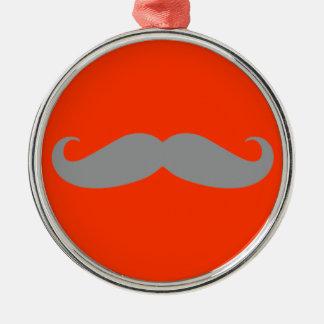 Gray Mustache Pattern Round Metal Christmas Ornament