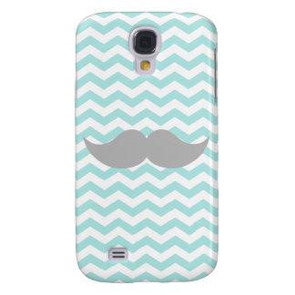 Gray Mustache Teal Chevron Zigzag Stripe Samsung Galaxy S4 Cover