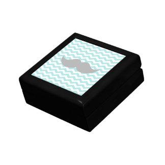 Gray Mustache Teal Chevron Zigzag Stripe Gift Box