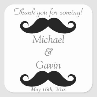 Gray Mustache Thank You For Coming! Gay Wedding Square Sticker