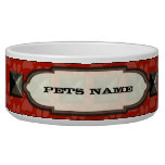 Gray Nail head Red Paw Print Personalized Dog Dog Water Bowls
