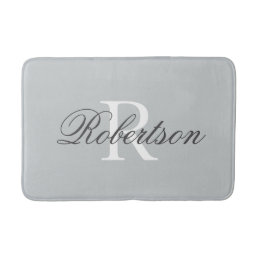 Gray name monogram bath mat | small medium large