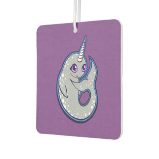 Gray Narwhal Whale With Spots Ink Drawing Design Air Freshener